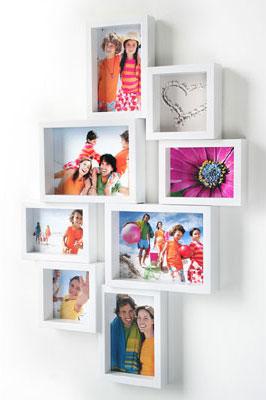 Apart Galerierahmen für 8 Fotos verschiedene Fotoformate | weiss | Normalglas