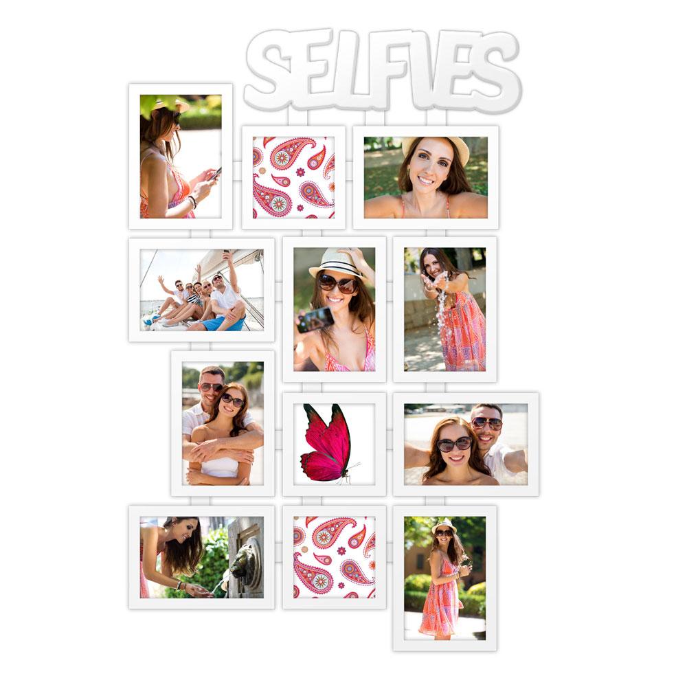 Galerierahmen SELFIES für 12 Selfies 8x 10x15 cm, 4x 10x10cm | weiss