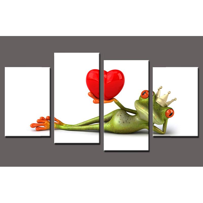 Keilrahmenbild Frosch 4-teilig 60x30 xm, 46x30 cm